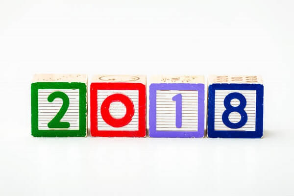 Wooden block for year 2018
